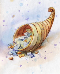 watercolor cornucopia with money