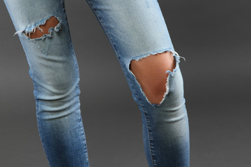 Jeans torn at the knee
