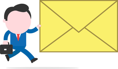 Businessman running and holding big mail icon