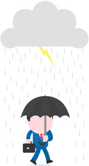 Businessman carrying umbrella under rain lightning grey storm cl