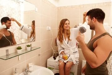 Young couple in the bathroom