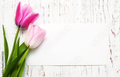 Deurstickers Tulp tulips with a card