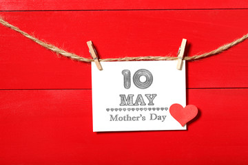 May 10th Mothers Day card hanging with clothespins