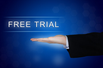 free trial button on blue background