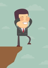 Businessman walks off a cliff. Vector illustration