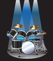drum set background blue lighting