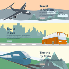 concepts travel in airplane, travel in bus, the trip by train.