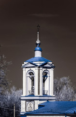 Old orthodox church in Moscow, infrared view