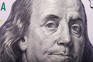 Portrait of Benjamin Franklin from one hundred dollars bill new