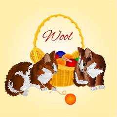 Kittens and a basket with balls of wool vector