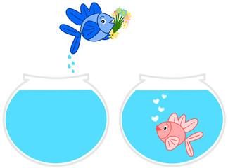 Fishes in love jumping aquarium cartoon illustration