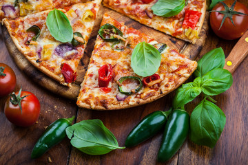 Hot chili pizza with jalapenos