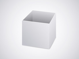Blank open box on white background. Packaging template