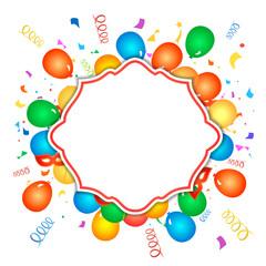 Colorful celebration background with confetti.  Illustration.