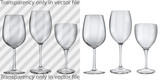 Transparent and opaque empty glass goblets for wine