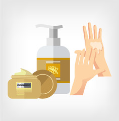 Vector cream and hand flat illustration