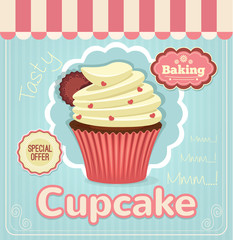 Vector flat cupcake banner illustration