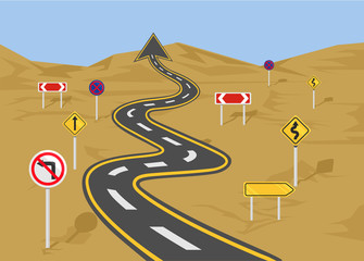 Vector wavy road flat illustration