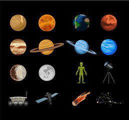 Vector planets flat icon set