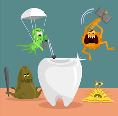 Tooth and germs. Vector flat illustration