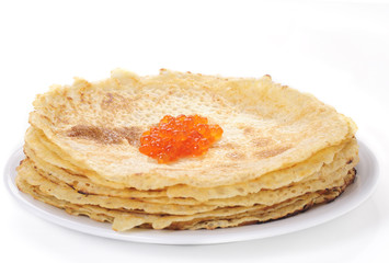 Crepes with red caviar