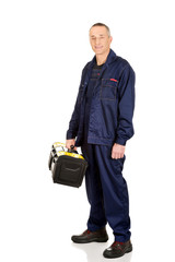 Worker with tools bag