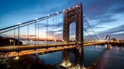 George Washington Bridge traffic at sunsrise