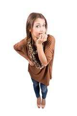 Anxious female beauty biting fingernails