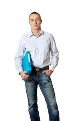 Handsome man holding blue binder