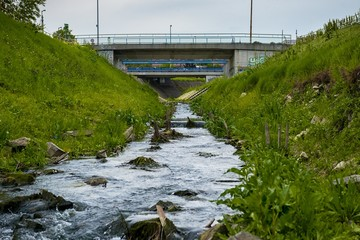 Sewage Water flowing into the river