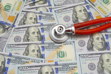 Money Accurately Copied With Stethoscope Isolated On White