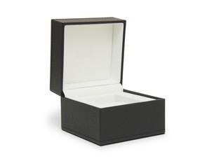 Open black gift box isolated on white