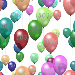 Seamless party air balloons with inscription 503