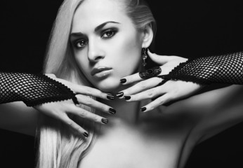sexy young woman.Blond Girl Wearing Gloves