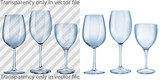 Transparent and opaque empty glass goblets for wine in blue poster