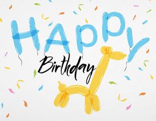 Card Happy Birthday balloons giraffe
