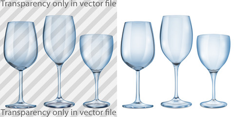 Transparent and opaque empty glass goblets for wine in blue