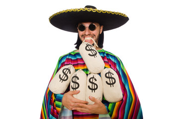 Handsome man in vivid poncho holding money bags isolated on