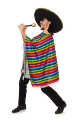 Handsome man in vivid poncho holding maracas isolated on white