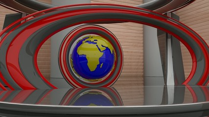 Virtual studio with 360 rotation globe