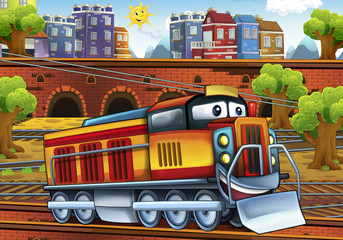 Cartoon electric train - train station - illustration