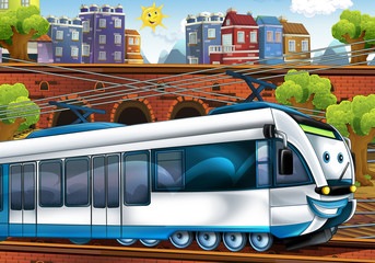 Cartoon fast train - train station - illustration