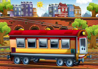 Cartoon passenger car - train station - illustration