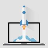 Start Up Concept Space Roket Modern Flat Design - 81456608