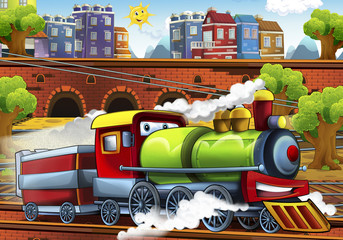 Cartoon steam train - train station - illustration