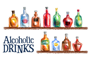collection of bottles vector logo design template. drink or