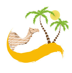 Camel and palm tree in the desert, vector