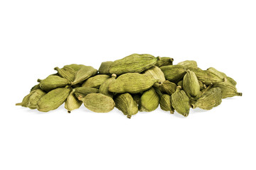 Heap of cardamom seeds isolated on white background