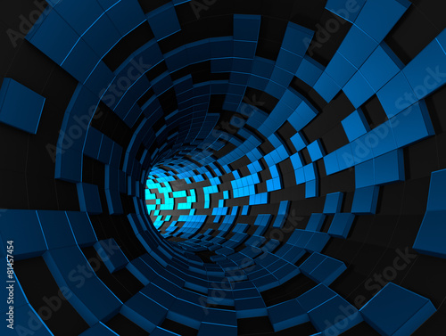 Abstract 3d rendering of futuristic tunnel.
