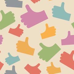 Thumbs up seamless pattern. background hands. Vector illustratio